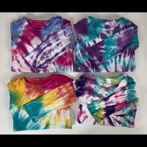 4 piece long sleeve bodysuits tie dye size 9 month